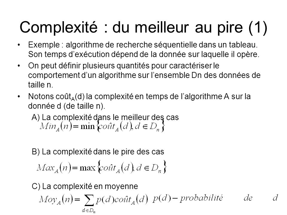 Complexité : du meilleur au pire (1)
