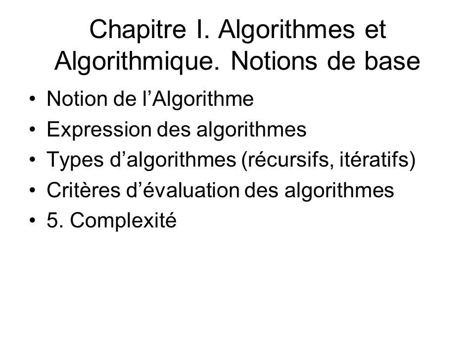 Chapitre I. Algorithmes et Algorithmique. Notions de base