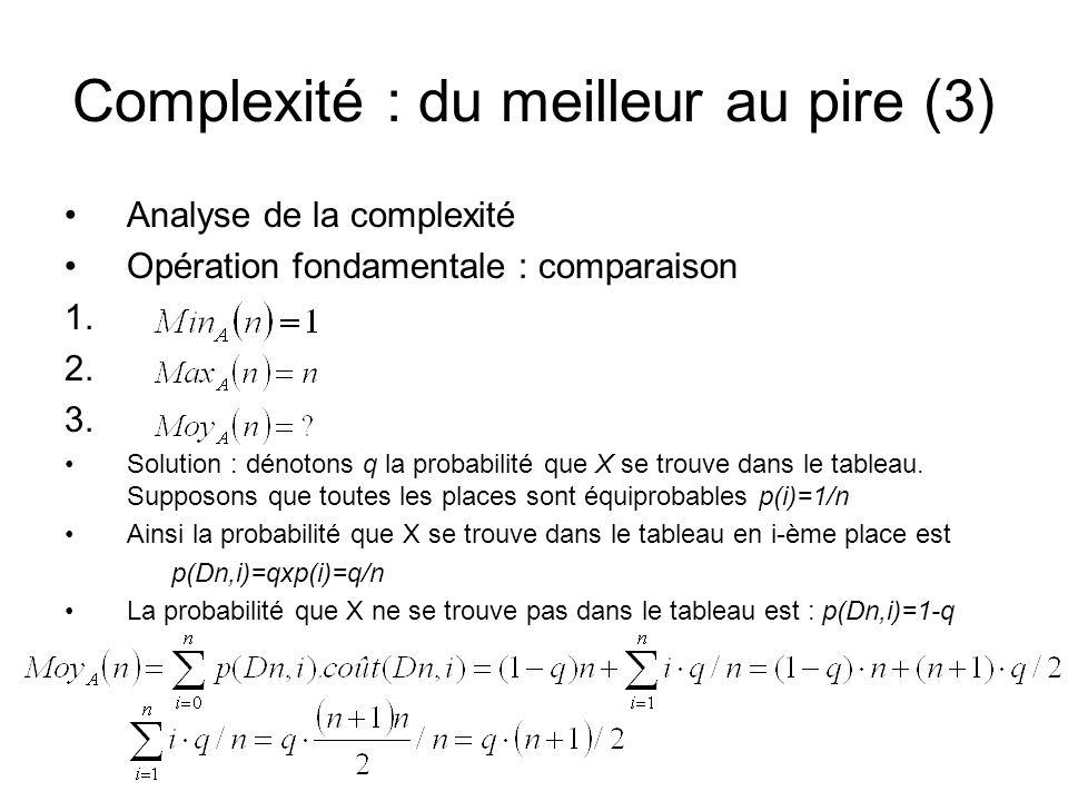 Complexité : du meilleur au pire (3)