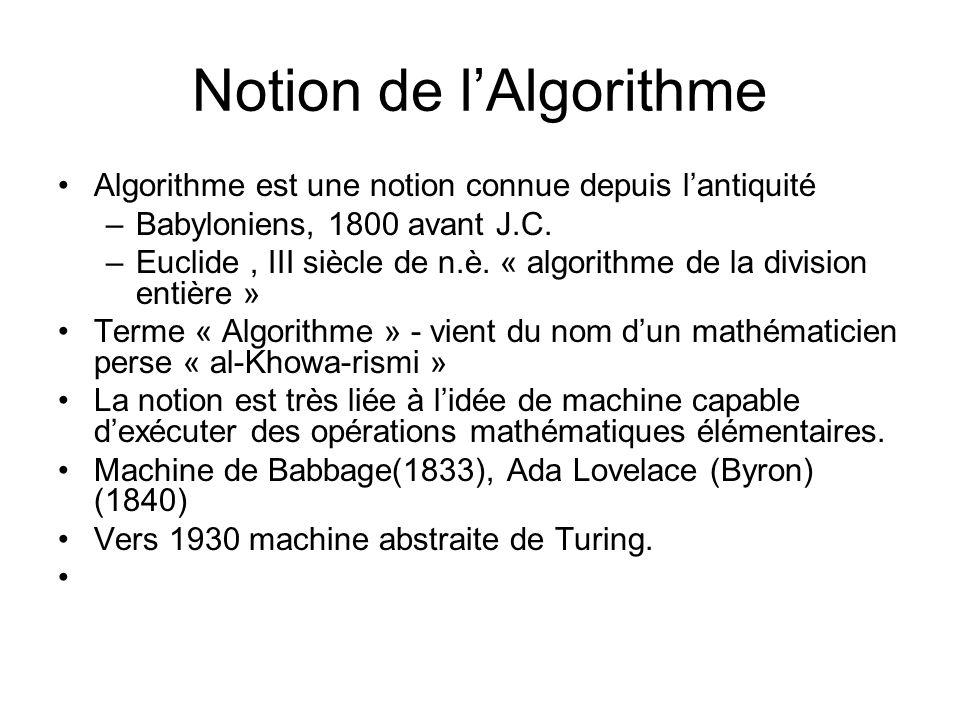 Notion de l'Algorithme