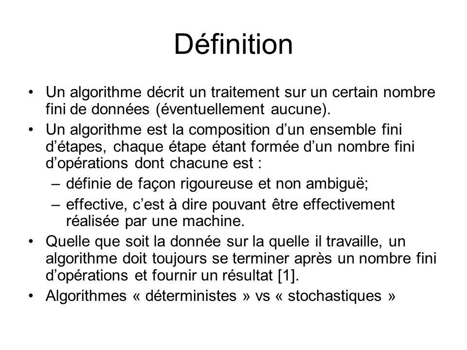 DéfinitionUn algorithme décrit un traitement sur un certain nombre fini de données (éventuellement aucune).