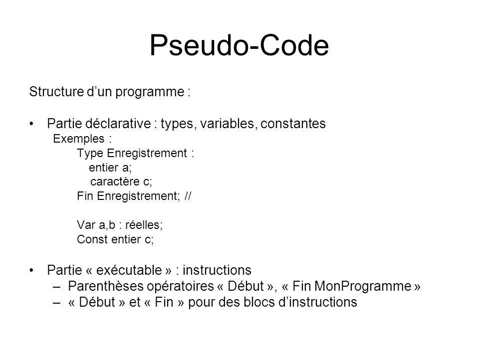 Pseudo-Code Structure d'un programme :