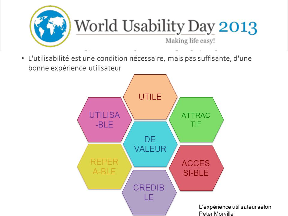 L utilisabilité est une condition nécessaire, mais pas suffisante, d une bonne expérience utilisateur