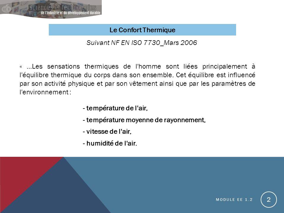 - température moyenne de rayonnement, - vitesse de l air,