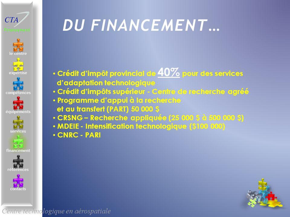 DU FINANCEMENT… Crédit d'impôt provincial de 40% pour des services