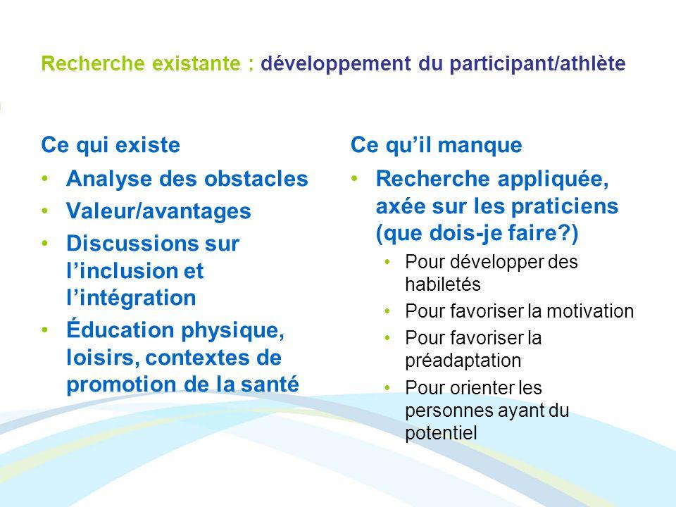 Recherche existante : développement du participant/athlète