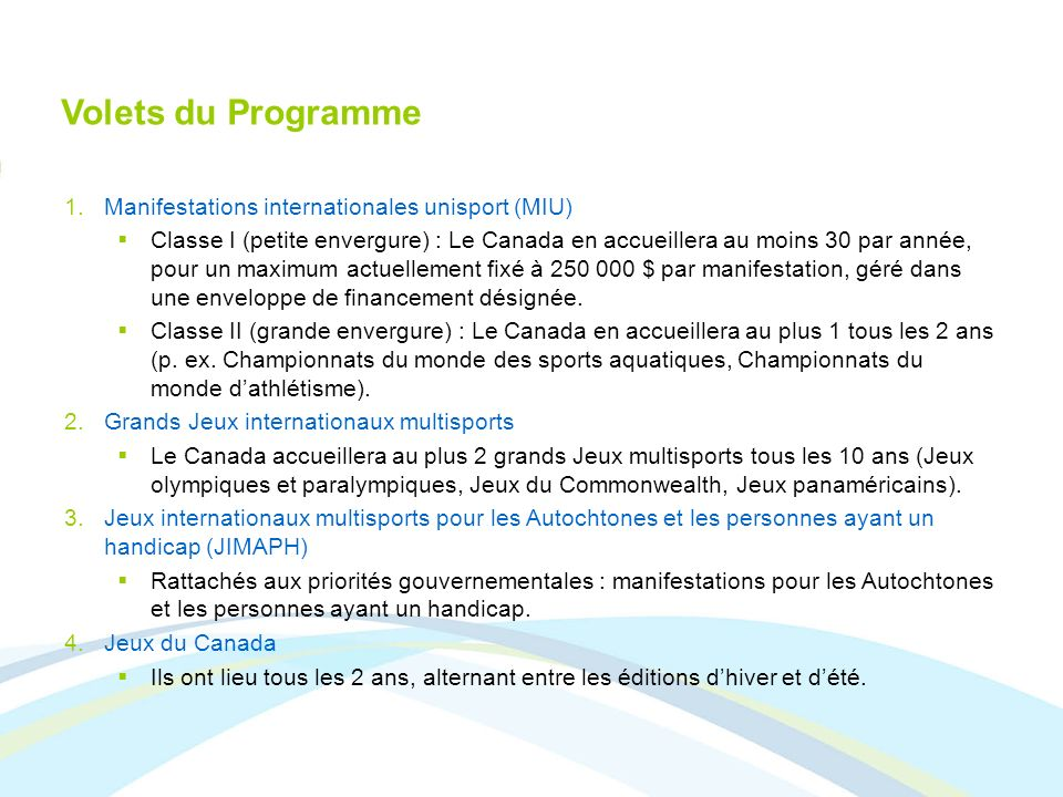 Volets du Programme Manifestations internationales unisport (MIU)