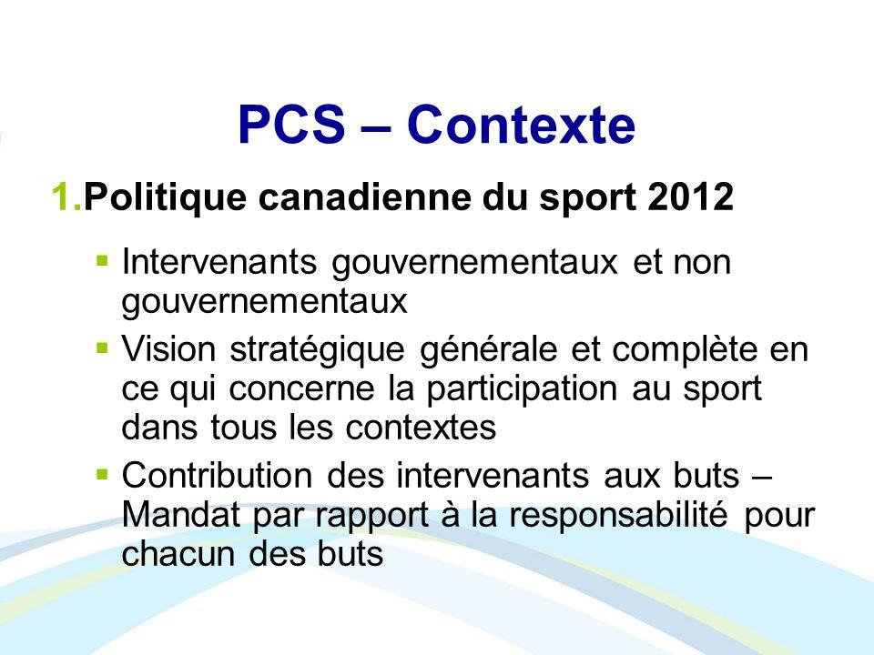 PCS – Contexte Politique canadienne du sport 2012