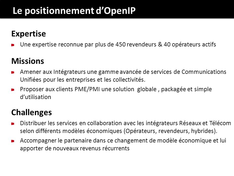 Le positionnement d'OpenIP
