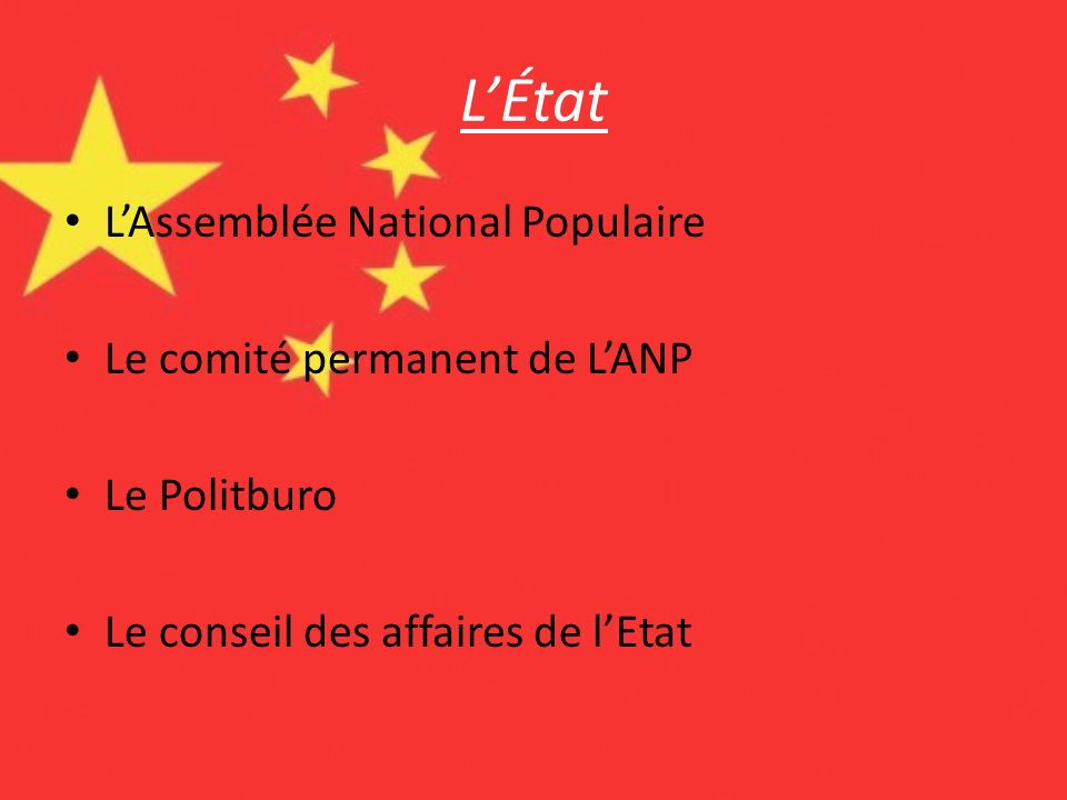 L'État L'Assemblée National Populaire Le comité permanent de L'ANP