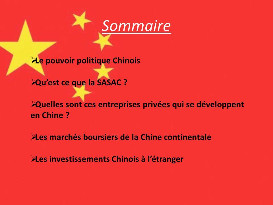 Sommaire Le pouvoir politique Chinois Qu'est ce que la SASAC