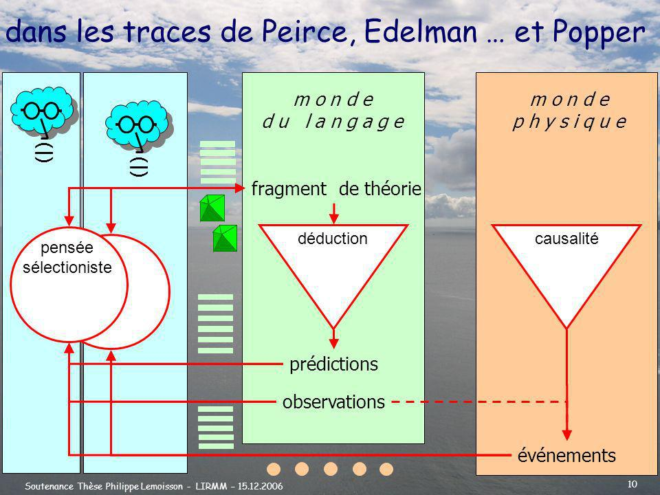 dans les traces de Peirce, Edelman … et Popper