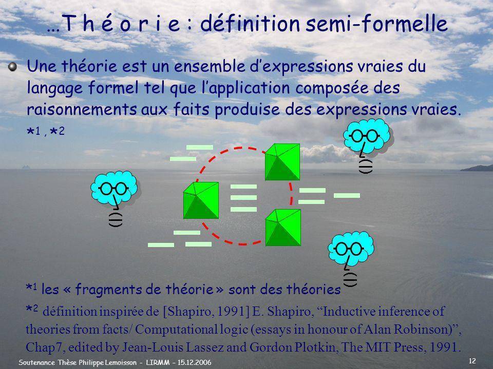 …T h é o r i e : définition semi-formelle
