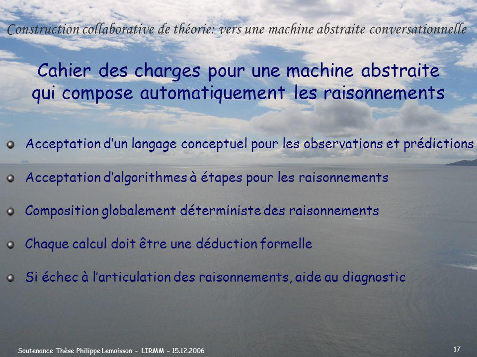 Construction collaborative de théorie: vers une machine abstraite conversationnelle