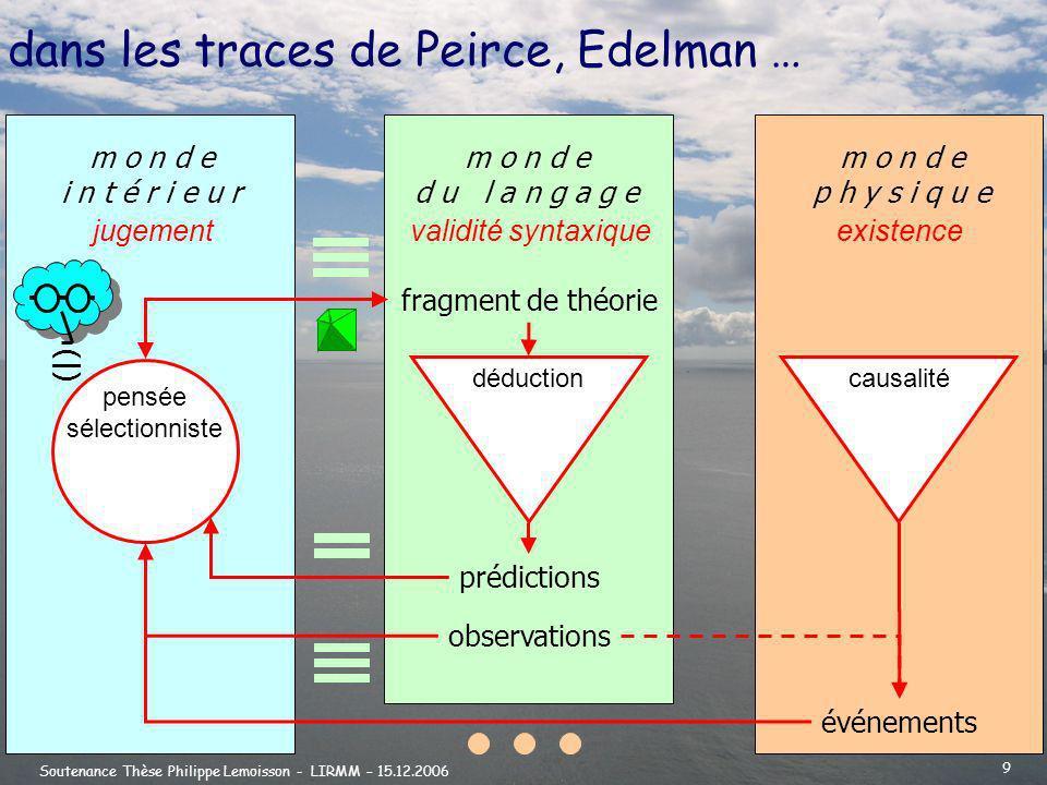 dans les traces de Peirce, Edelman …