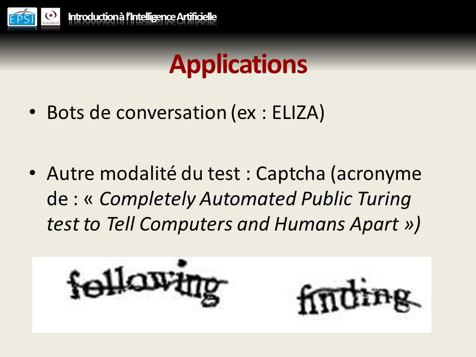Applications Bots de conversation (ex : ELIZA)
