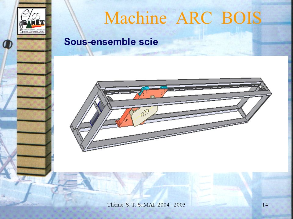 Machine ARC BOIS Sous-ensemble scie Thème S. T. S. MAI 2004 - 2005