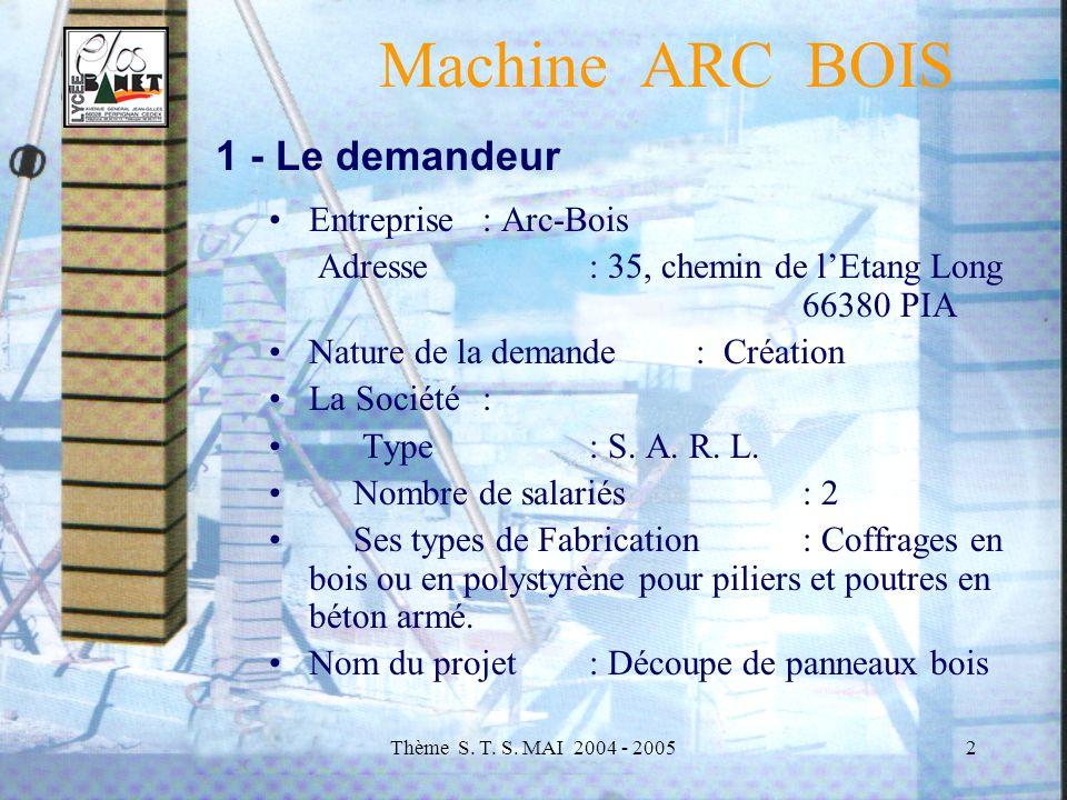 Machine ARC BOIS 1 - Le demandeur Entreprise : Arc-Bois