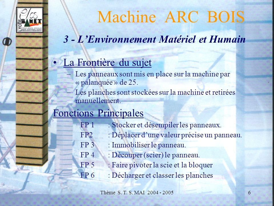 Machine ARC BOIS 3 - L'Environnement Matériel et Humain