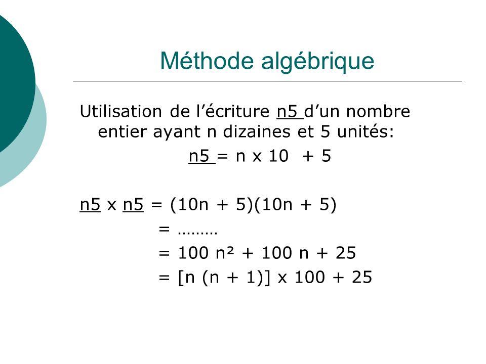Méthode algébrique Utilisation de l'écriture n5 d'un nombre entier ayant n dizaines et 5 unités: n5 = n x 10 + 5.