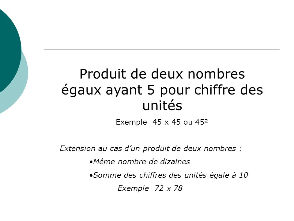 Produit de deux nombres égaux ayant 5 pour chiffre des unités