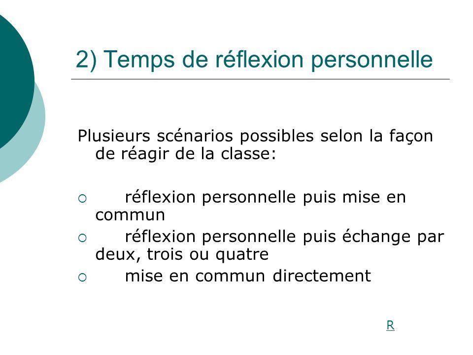 2) Temps de réflexion personnelle