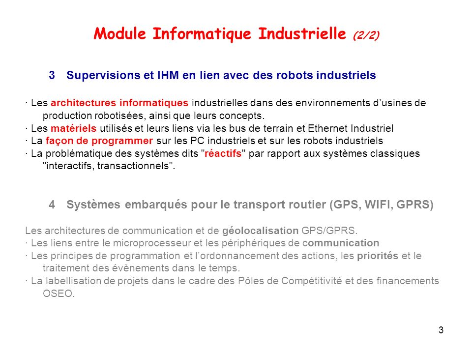 Module Informatique Industrielle (2/2)