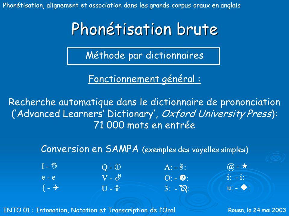 Phonétisation brute Méthode par dictionnaires Fonctionnement général :