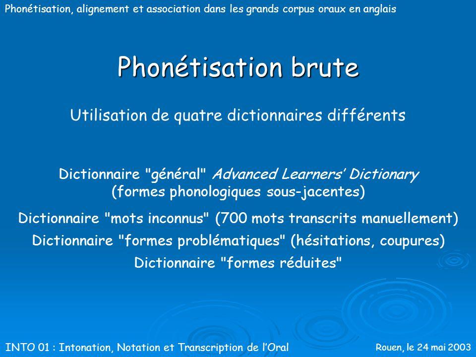 Phonétisation brute Utilisation de quatre dictionnaires différents