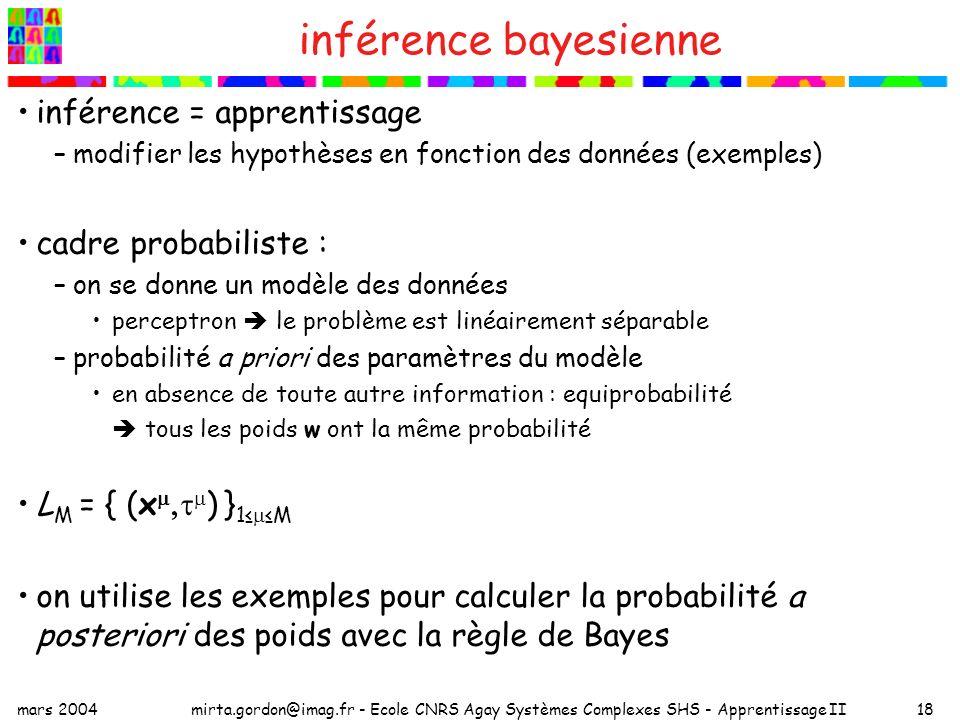 inférence bayesienne inférence = apprentissage cadre probabiliste :