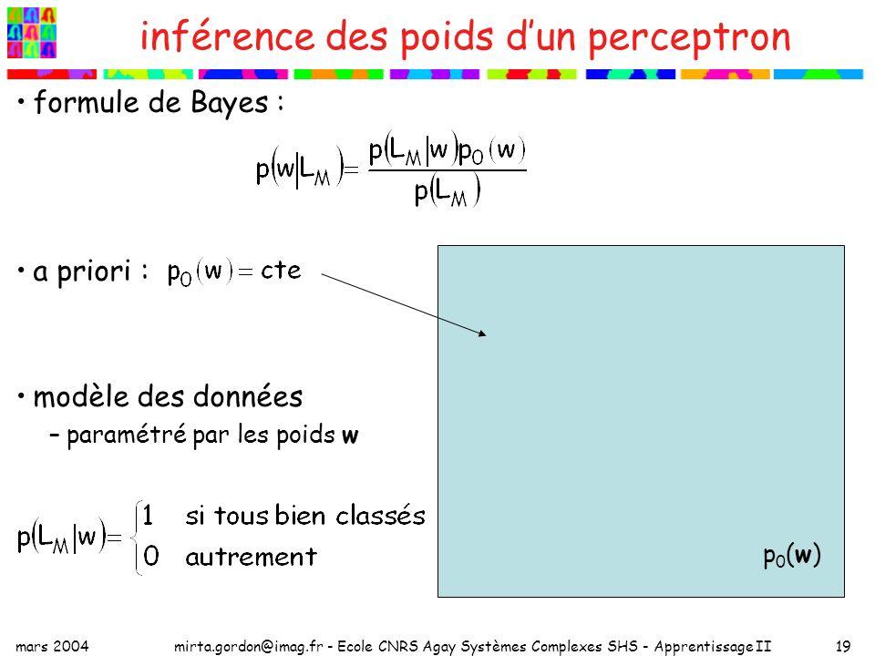 inférence des poids d'un perceptron