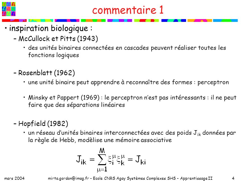 commentaire 1 inspiration biologique : McCullock et Pitts (1943)