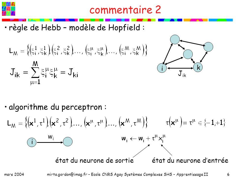commentaire 2 règle de Hebb – modèle de Hopfield :