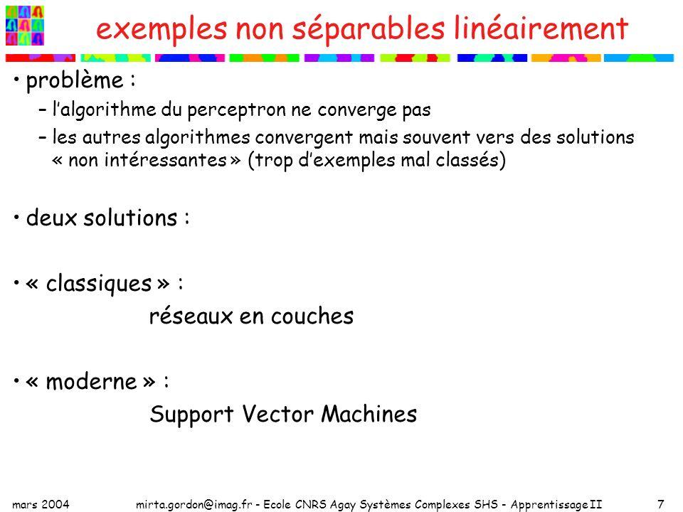 exemples non séparables linéairement