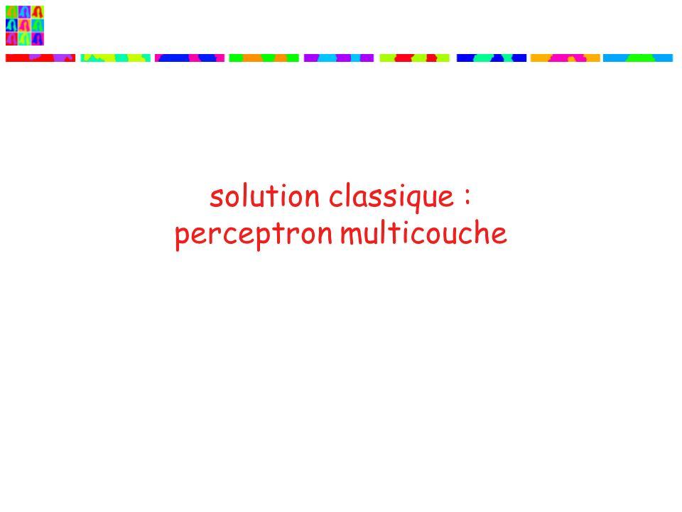 solution classique : perceptron multicouche