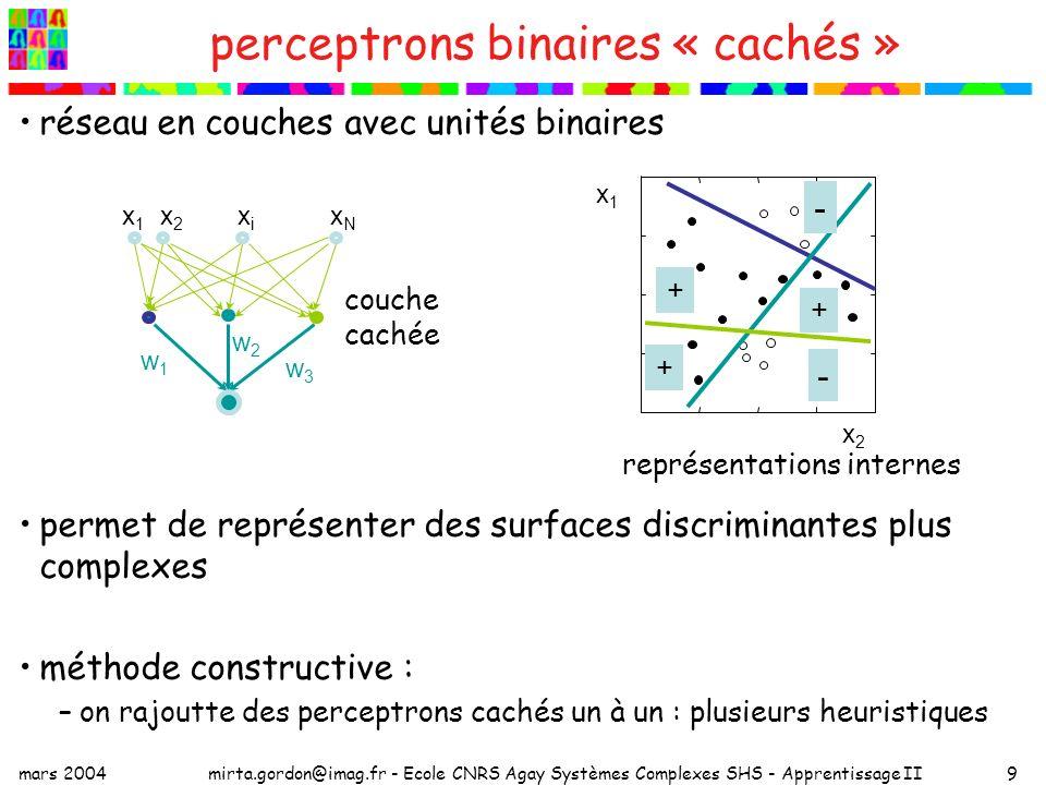 perceptrons binaires « cachés »