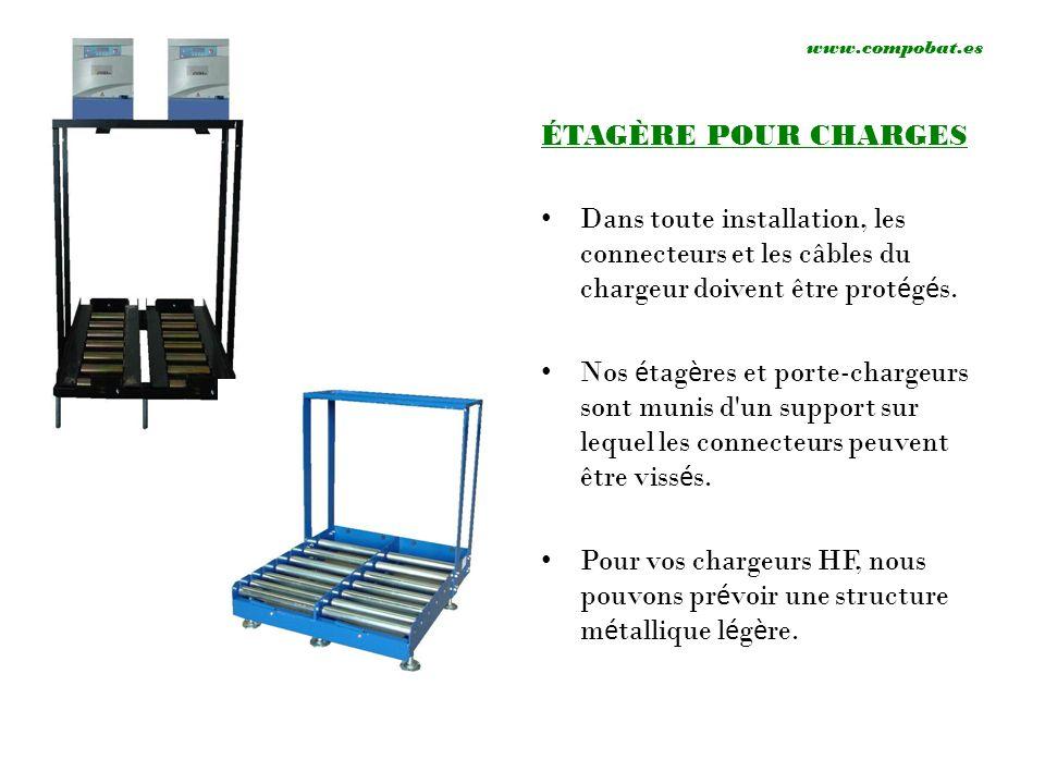 www.compobat.esÉTAGÈRE POUR CHARGES. Dans toute installation, les connecteurs et les câbles du chargeur doivent être protégés.