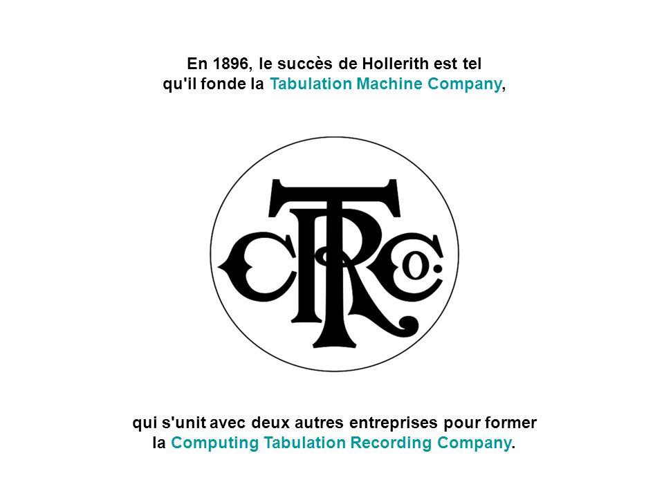 En 1896, le succès de Hollerith est tel qu il fonde la Tabulation Machine Company,