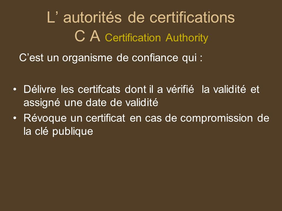 L' autorités de certifications C A Certification Authority