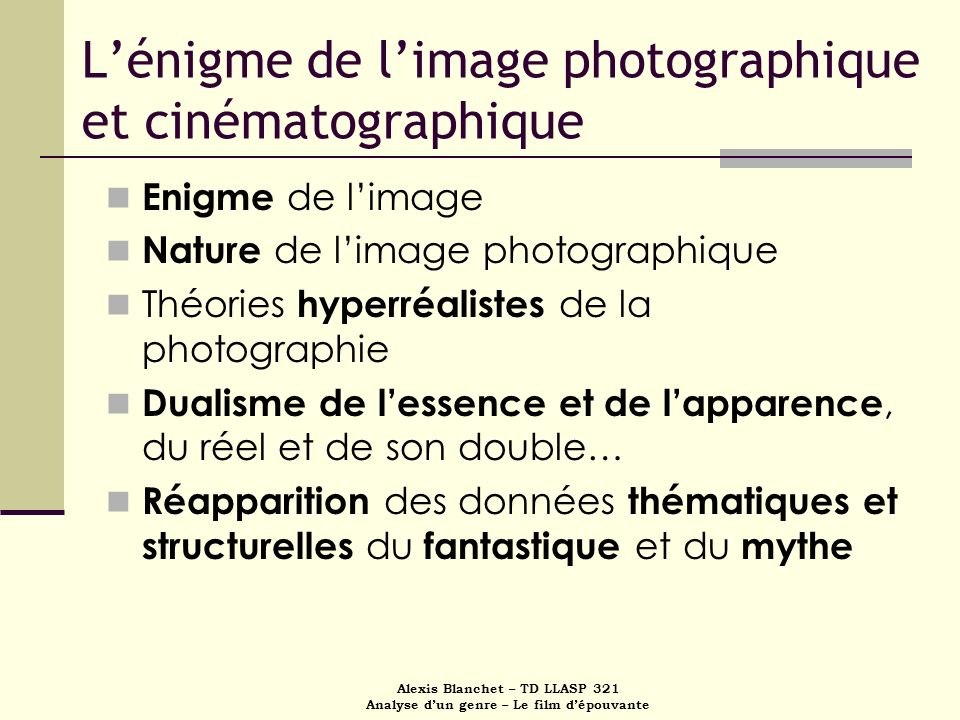 L'énigme de l'image photographique et cinématographique