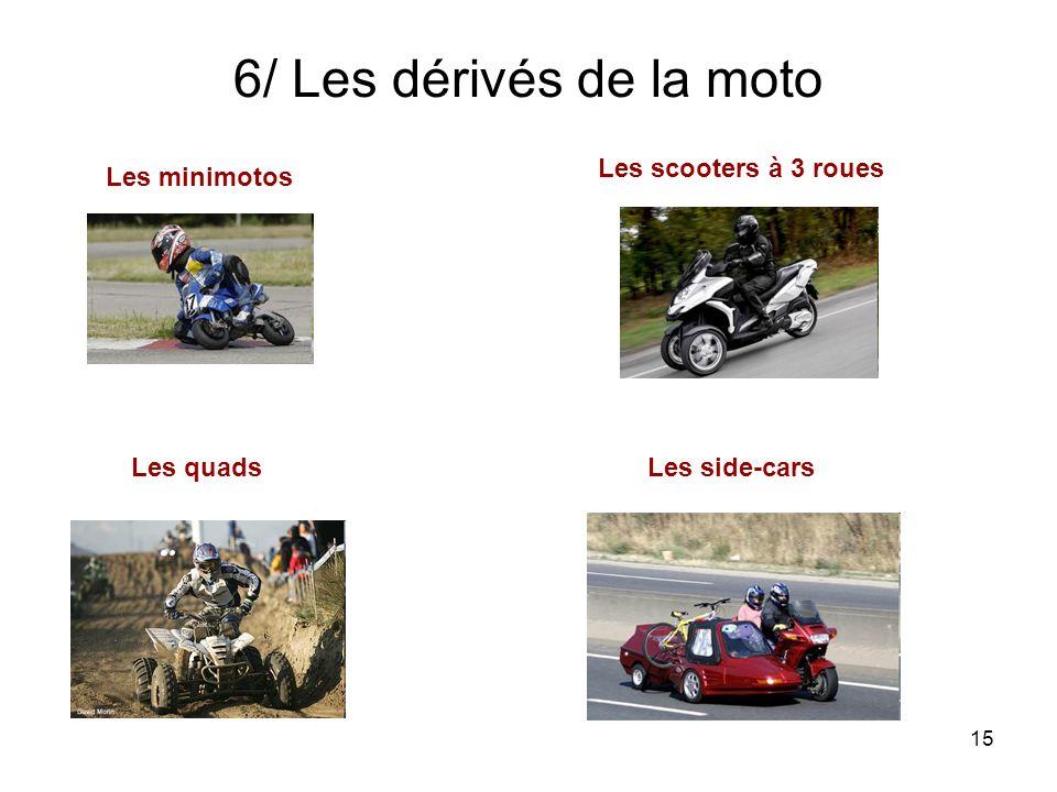 6/ Les dérivés de la moto Les scooters à 3 roues Les minimotos