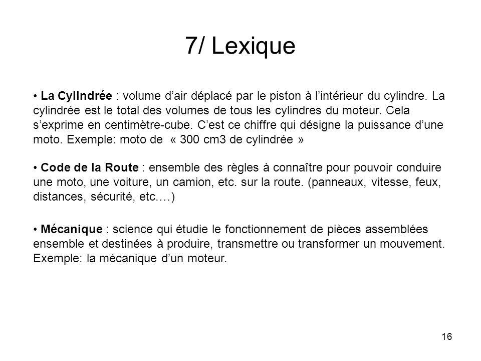 7/ Lexique
