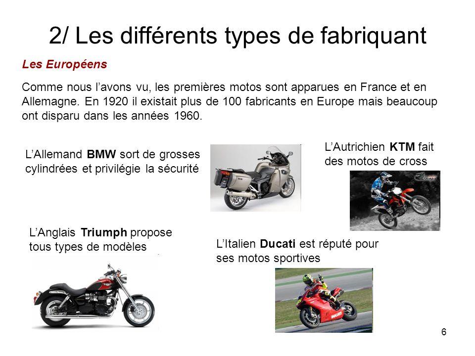 2/ Les différents types de fabriquant
