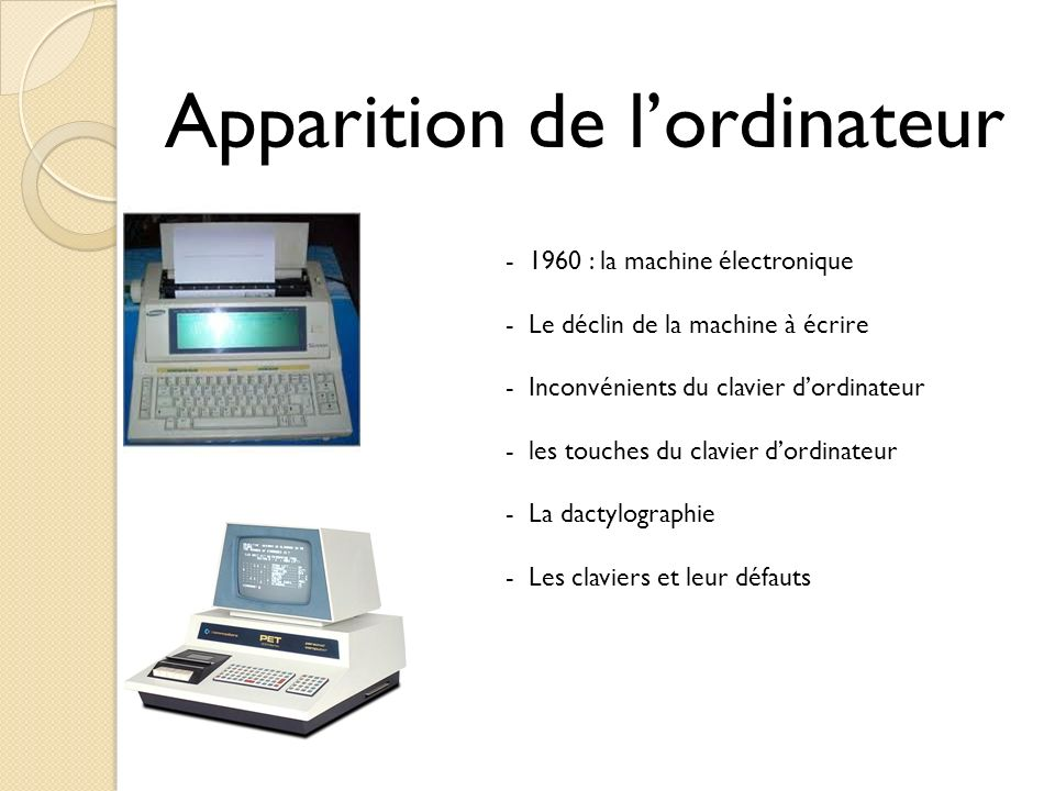 Apparition de l'ordinateur