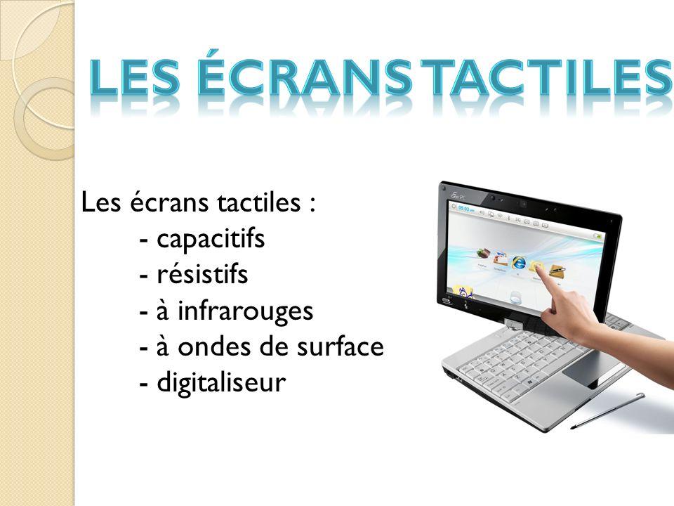 Les Écrans tactiles Les écrans tactiles : - capacitifs - résistifs