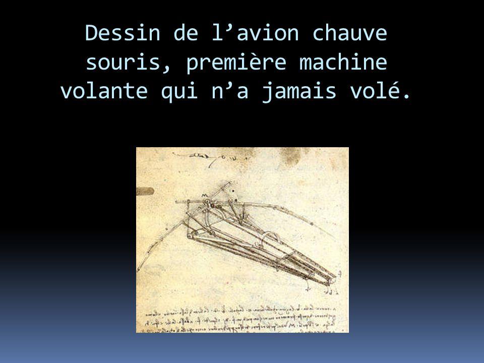 Dessin de l'avion chauve souris, première machine volante qui n'a jamais volé.