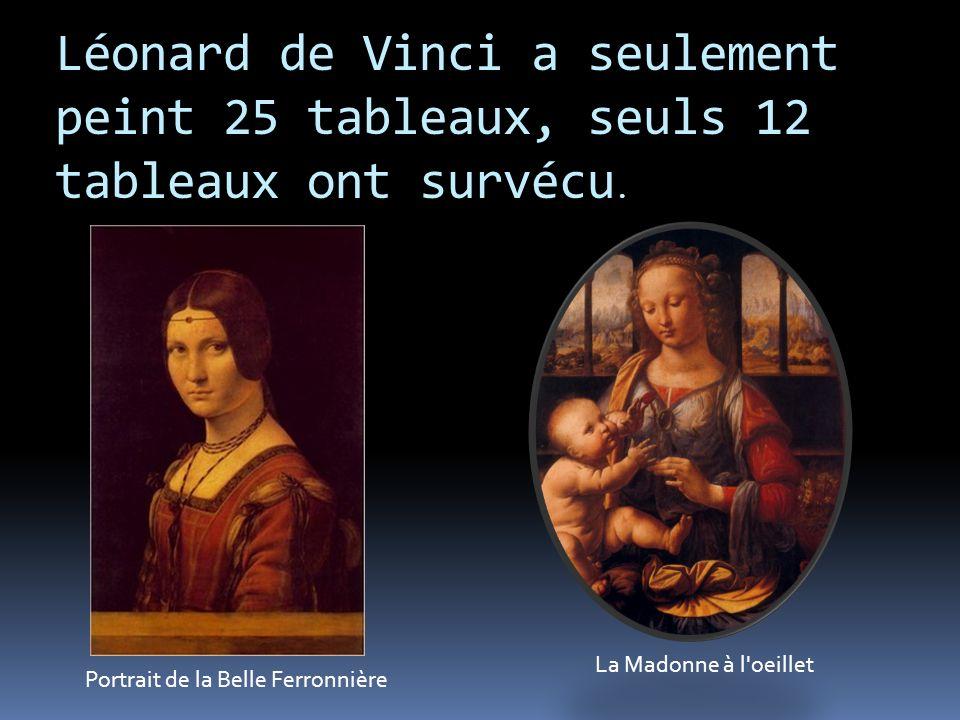 Léonard de Vinci a seulement peint 25 tableaux, seuls 12 tableaux ont survécu.