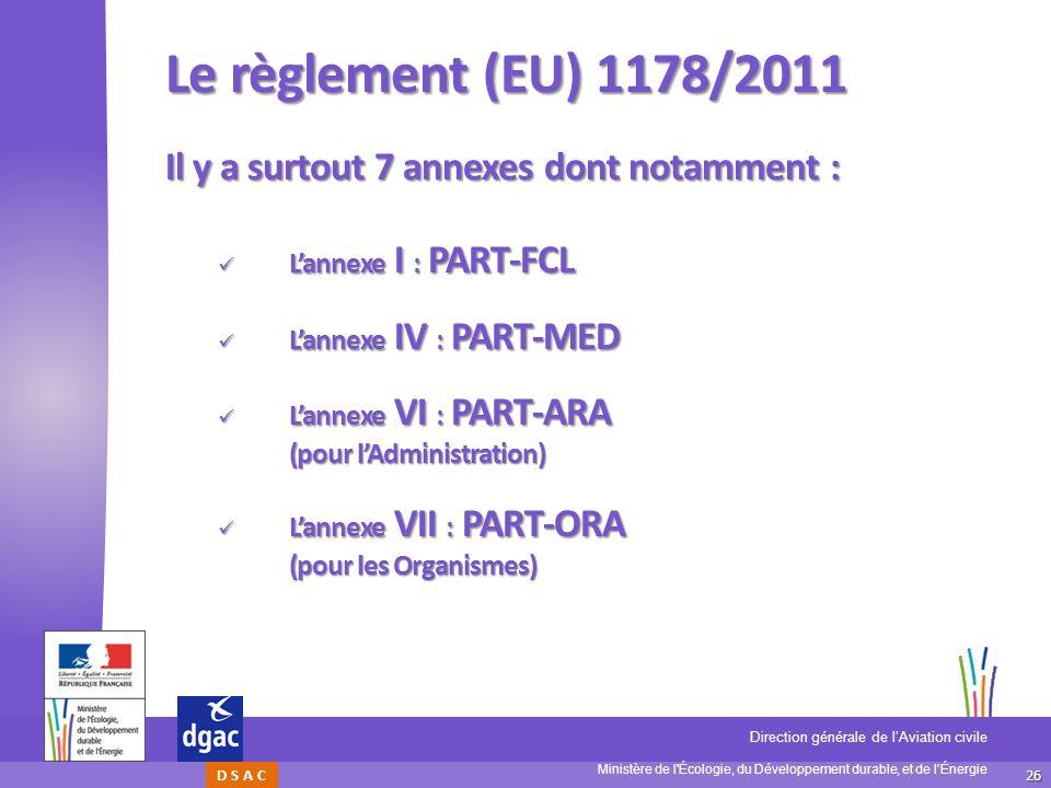 Le règlement (EU) 1178/2011 Il y a surtout 7 annexes dont notamment :