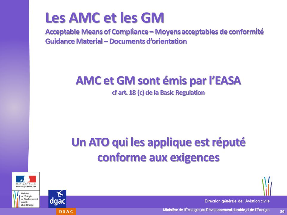 Les AMC et les GM Acceptable Means of Compliance – Moyens acceptables de conformité Guidance Material – Documents d'orientation