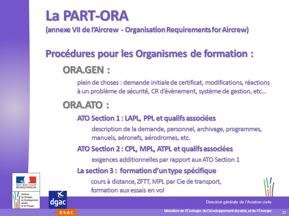 La PART-ORA (annexe VII de l'Aircrew - Organisation Requirements for Aircrew)
